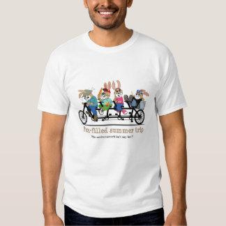 Tandem bike summer trip bunnies T-shirt