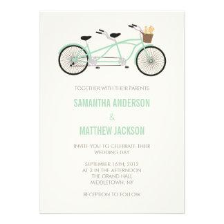 Tandem Bike Wedding Invitation - Mint Green