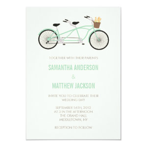 Tandem Bike Wedding Invitation - Mint Green 5