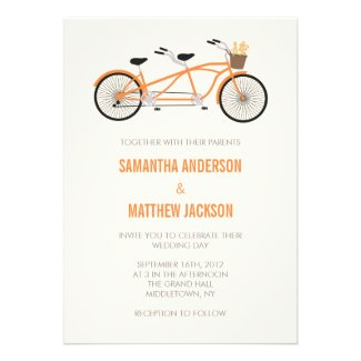 Tandem Bike Wedding Invitation - Orange