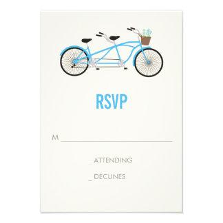 Tandem Bike Wedding RSVP - Blue Custom Invite