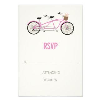 Tandem Bike Wedding RSVP - Pink Custom Invite