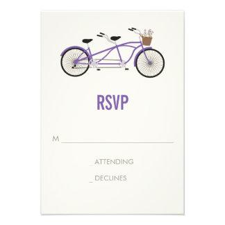 Tandem Bike Wedding RSVP - Purple Announcement