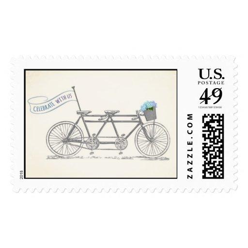 Tandem Bike Wedding stamp
