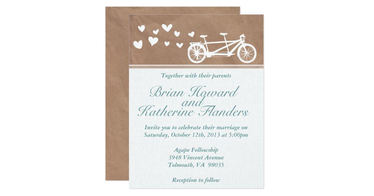 Tandem Bike Wedding Invitations: Tandem Bike With Hearts Wedding Invitation