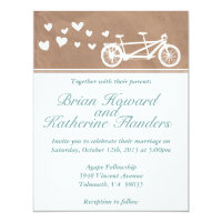Tandem Bike with Hearts Wedding Invitation
