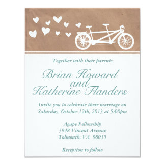 Fellowship invitations announcements zazzle tandem bike with hearts wedding invitation stopboris Image collections