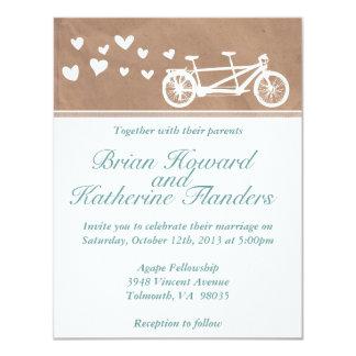 Fellowship invitations announcements zazzle tandem bike with hearts wedding invitation stopboris Gallery