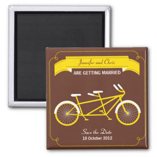 Tandem Bike (Yellow / Brown) Save the Date 2 Inch Square Magnet