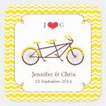 Tandem Bike (Yellow Chevron) Favor Sticker