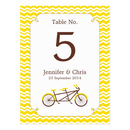 Tandem Bike (Yellow Chevron) Table Number Postcard