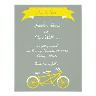 Tandem Bike (Yellow / Grey) Save the Date Custom Announcement