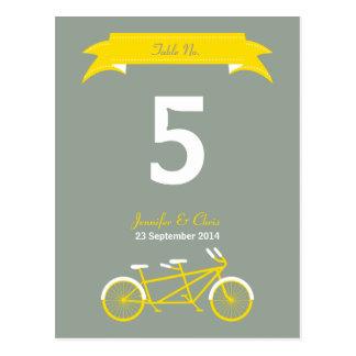 Tandem Bike (Yellow / Grey) Table Number Postcard