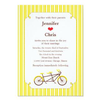 Tandem Bike (Yellow Stripes) Wedding 5x7 Paper Invitation Card