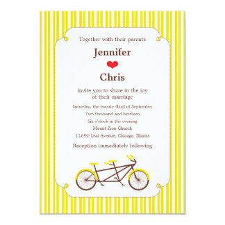 Tandem Bike (Yellow Stripes) Wedding Custom Announcements
