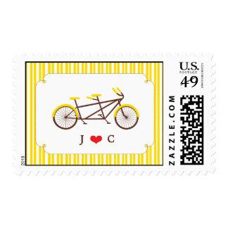 Tandem Bike (Yellow Stripes) Wedding Postage