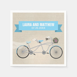 Tandem Blue Bicycle Wedding Engagement Party Standard Cocktail Napkin