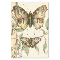Tandem Butterflies Over Green Leaves Tissue Paper