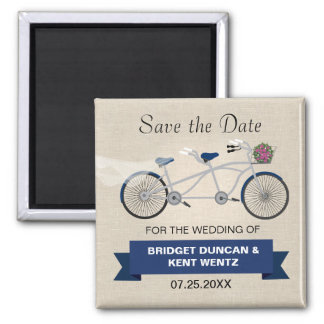 Tandem Dark Blue Bicycle Save the Date 2 Inch Square Magnet