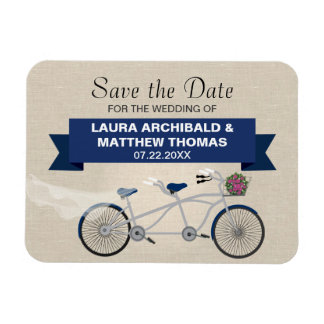 Tandem Dark Blue Bicycle Save the Date Rectangular Photo Magnet