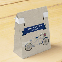 Tandem Dark Blue Bicycle Wedding Engagement Favor Box