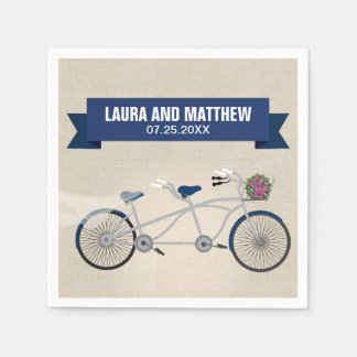 Tandem Dark Blue Bicycle Wedding Engagement Party Standard Cocktail Napkin