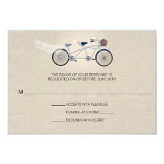 Tandem Dark Blue Bicycle Wedding Faux Linen RSVP Invitations
