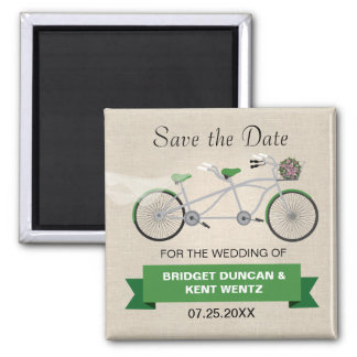 Tandem Green Bicycle Save the Date 2 Inch Square Magnet