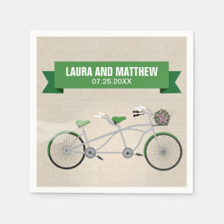 Tandem Green Bicycle Wedding Engagement Party Napkin