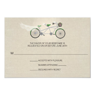Tandem Green Bicycle Wedding Faux Linen RSVP Personalized Announcement