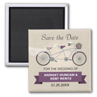 Tandem Plum Bicycle Save the Date 2 Inch Square Magnet