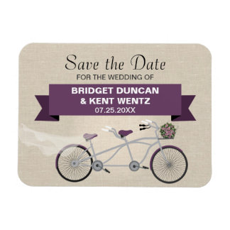 Tandem Plum Bicycle Save the Date Rectangular Photo Magnet