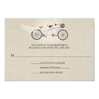 Tandem Plum Bicycle Wedding Faux Linen RSVP Card
