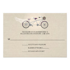 Tandem Plum Bicycle Wedding Faux Linen RSVP Invitation