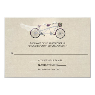 Tandem Plum Bicycle Wedding Faux Linen RSVP 3.5x5 Paper Invitation Card