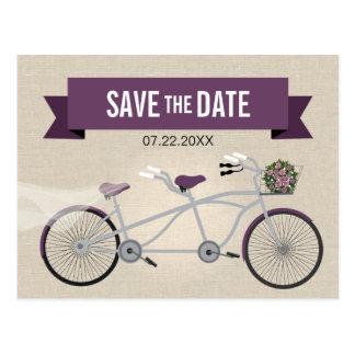 Tandem Plum Bicycle Wedding Save the Date Postcard