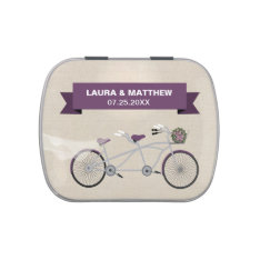 Tandem Purple Bicycle Wedding Engagement Jelly Belly Tins at Zazzle