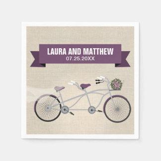 Tandem Purple Bicycle Wedding Engagement Party Napkin