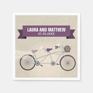 Tandem Purple Bicycle Wedding Engagement Party Standard Cocktail Napkin
