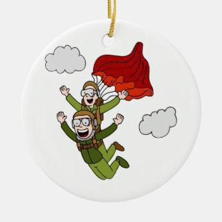 Tandem Skydiving Vector Cartoon Ceramic Ornament