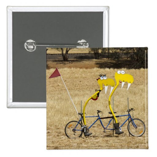 Tandem Snakes 2 Inch Square Button