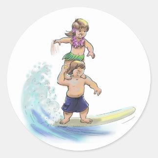 tandem surfers classic round sticker
