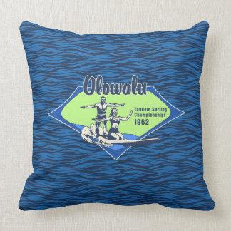 Tandem Surfing Hawaiian Vintage Surf Design Throw Pillow
