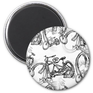 Tandem (Two Seater) Vintage Bicycle 2 Inch Round Magnet