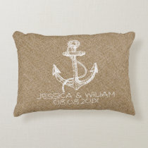 Tane Linen Print & White Nautical Anchor Accent Pillow