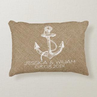Tane Linen Print & White Nautical Anchor Accent Pillow