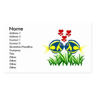 Tang azul que besa tarjetas de visita
