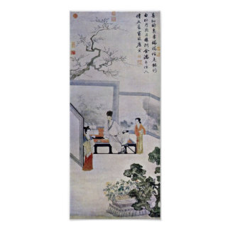 Tang Yin - The poet and two courtesans Poster