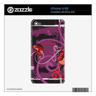 Tangerine Abstract Floral Zazzle Skin Skin For iPhone 4