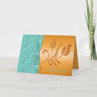 Tangerine and Aqua Jewelled Thank You Card card
